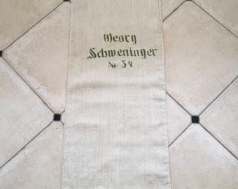 NS1609 Twill Natural Limestone Vintage Linen Grainsack with Green Printed Lettering