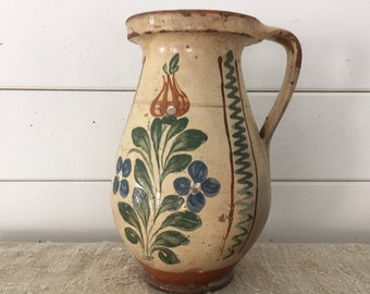 Rustic Terracotta Hungarian Pottery Glazed Ceramic Jug
