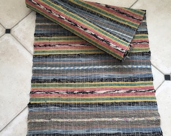 RR1609 Vintage Swedish Rag Rug in Greys, Green,Pink and Yellow Colored Stripey Runner