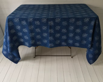 Indigo Dyed Vine-leaf Design Tablecloth /Sheet Vintage Linen Fabric Handmade Linen Upholstery SewingProjects DTS2001