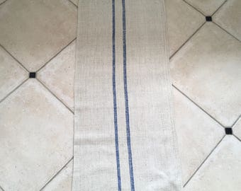 NS1809 Blue Stripe Twill Natural Sandstone Vintage Linen Grainsack