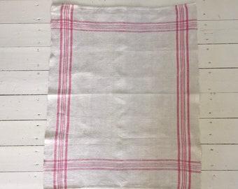 Pink Stripe Tea Towel Linen