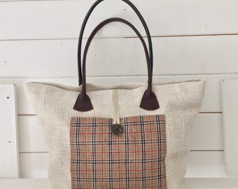 Upcycled Tartan Pocket Handbag