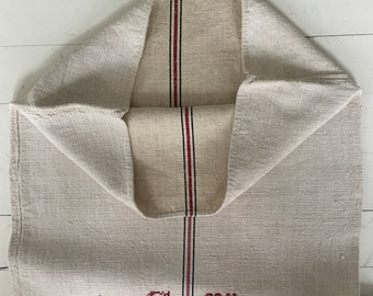 Black and Dull Pink Stripe Monogrammed 'CK' Linen Vintage Grain Sack Off White Upholstery Bench Seat Pillow Cushions Bathroom Mat NS2016