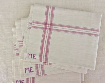 NTT1102 Lilac Stripe Tea towel  Linen for with 'ME' Monogram