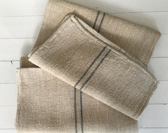 Charcoal Grey Strips on Stone Natural Vintage Linen Grainsack Sewing Projects Upholstery Bath Mat or Laundry Bag NS2112 Washed ready to Go