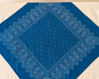 Hand Blocked and Hand Blue Dyed Fine Cotton Tablecloth using Traditional Techniques BDT1901