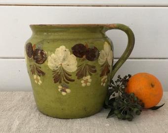 Rustic Terracotta Hungarian Pottery Glazed Green Ceramic Jug -  Decor Floral Design-White,Brown and Orange