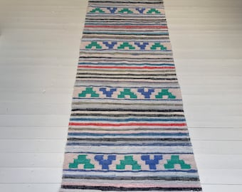 Vintage Swedish Rag Rug Blue,Green ,Black and Natural Runner Upcycled 1930s Floor Cover European Interior Antique RR2011