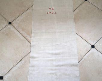 Monogrammed 'VE' Natural Limestone Vintage Linen Grainsack