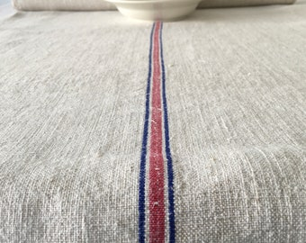 Blue and Pink Stripes Fine Natural Vintage Linen Table Runner Upholstery  Sewing Projects Cushions   Washed and ready to Go  NLR2118