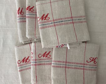 ICNTT 005 Red and Blue Stripe Tea towel Linen for with 'KM' Monogram