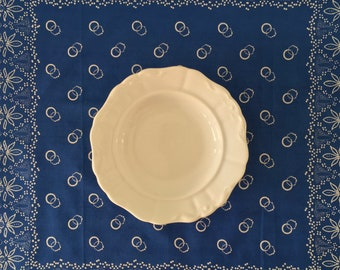 Hand Blue Dyed Fine Cotton Tablecloth with a Floral Design