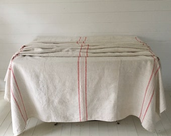 Raspberry Pink Stripe Cart Cover Linen for Upholstery Sewing Projects Vintage Fabric Handmade Linen CC2004