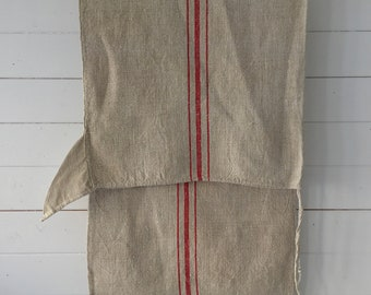 Red Stripe and Beige Vintage Linen Grainsack Sewing Projects Upholstery Bath Mat Cushions Table Runner       NS2139 Washed and ready to Go