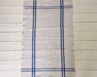 Blue Stripe Tea Towel Linen Vintage Fabric Handmade Linen NTT11