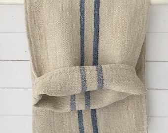 Blue Grey Faded Stripe on Stone Natural Vintage Linen Grainsack Sewing Projects Upholstery Bath Mat or Laundry Bag NS2108 Washed ready to Go