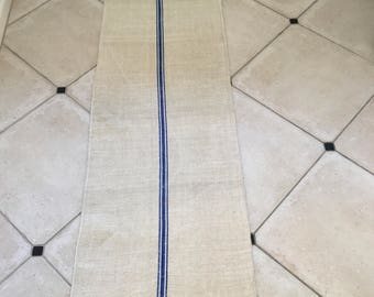 NS13109 Blue Stripe Twill Natural Limestone Vintage Linen Grainsack