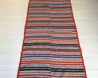 Vintage Swedish Rag Rug Double Width Multi Coloured Stripey Rag Rug