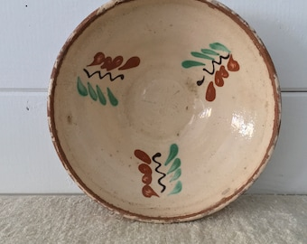 Rustic Terracotta Hungarian Pottery Ceramic Dish - Kitchen Decor Brown and Green
