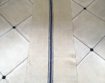 NS1704 Blue Stripe Twill Natural Sandstone Vintage Linen Grainsack
