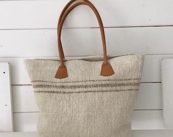 Upcycled Caramel Stripe Pocket Handbag