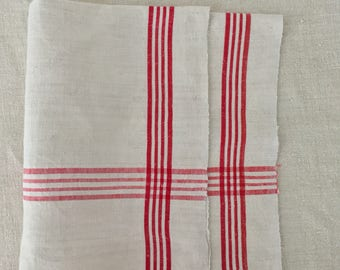 Red Stripe Tea Towel Linen Vintage Fabric Handmade Linen