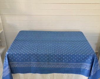 BDT1805 Hand Blocked and Hand Blue Dyed Fine Cotton Tablecloth using Traditional Techniques