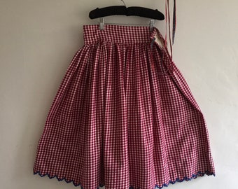 Brushed Cotton Maroon and White Checked Circle Skirt Vintage