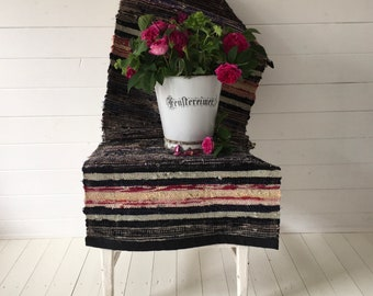 Vintage Swedish Rag Rug  Black Grey Red and Natural Pastels Stripes Hand-made Rag Rug Runner Upcycled RR2010