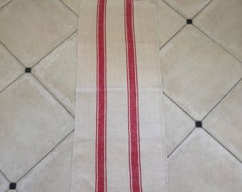 NS1214 Natural Limestone Red Striped  Vintage Linen Grainsack