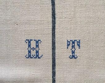 Navy Blue Stripe Monogrammed 'HT' Linen Vintage Grain Sack Off White Upholstery Bench Seat Pillow Cushions Bathroom Mat NS2003