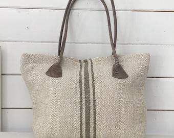 Upcycled Olive Grey Stripe Linen Handbag