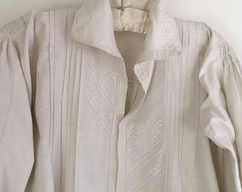 Vintage Natural Linen Ladies Shepherds Shirt