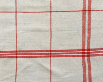 Red Stripe Tea Towel Linen Handmade Linen NTT1508