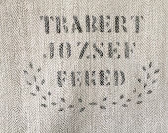 Natural Off White Vintage Linen Grain Sack Panel with Black Printed Name Sewing Projects Upholstery Cushion  NS2154  Washed and ready to Go