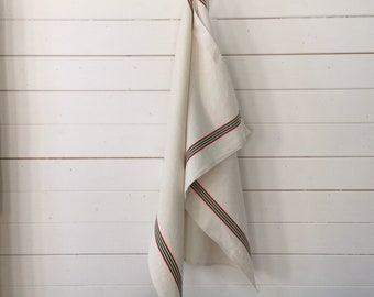 NTT2021 Pair Red Green Stripe Tea Towel Linen Cotton Vintage French 'Fleure Bleue' Metis Torchon Tea Towel