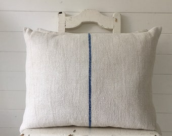 Vintage Hungarian Hand Spun Linen Cushion Pillow Off White with Royal Blue Stripe Complete with Made to Measure Feather Pad FC2000