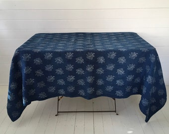 DTS1901 Indigo Dyed Grapeleaf Print Tablecloth /Sheet
