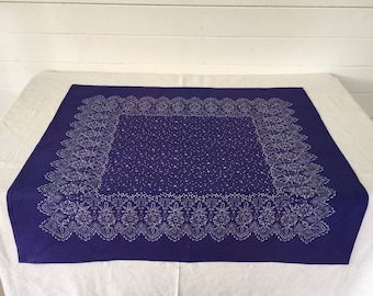 Hand Blocked and Hand Dyed Purpley Blue Fine Cotton Tablecloth