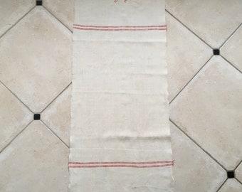 Red Stripe Tea Towel Linen with 'OE' Monogram Handmade Linen NTT2010