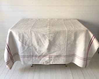 Maroon Stripe Cart Cover Linen for Upholstery Sewing ProjectsVintage Fabric Handmade Linen CC2003