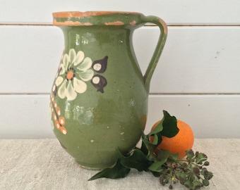 Rustic Terracotta Hungarian Pottery Glazed Green Ceramic Jug -