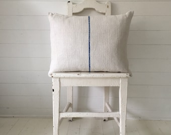 Vintage Hungarian Hand Spun Linen Cushion Pillow Off White with Royal Blue Stripe Complete with Made to Measure Feather Pad FC2002