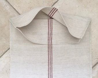 Maroon Stripe Natural Vintage Linen Grainsack  NS1919