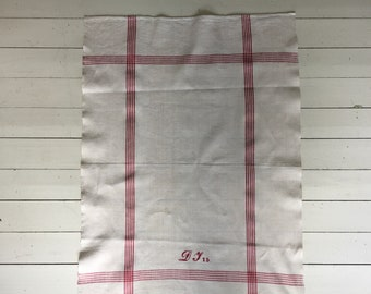 Red Monogrammed  'DJ'?? Tea Towel Limestone Vintage Linen Fabric