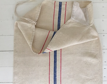 Red and Blue Stripe Natural Vintage Linen Grain Sack Fabric Sewing Projects Upholstery Bath Mat or Laundry Bag Washed and ready to Go NS2135