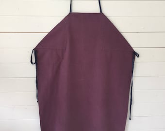 Purple Faded Cotton Twill Vintage Military Workwear Apron