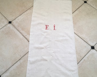 NS1841 Monogrammed 'FI' Natural Limestone Vintage Linen Grainsack Chair Fabric Striped Sewing Projects Upholstery Bath Mat or Laundry Bag