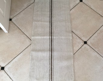 Dark Mushroom Stripe Natural Limestone Vintage Linen Grainsack